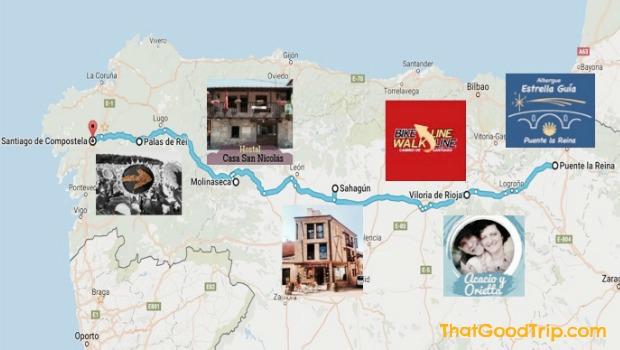 Mapa albergues brasileiros Caminho de Santiago