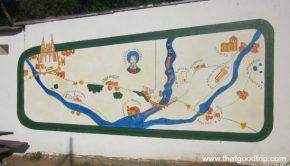 Guias do Camino de Santiago: mapa na parede