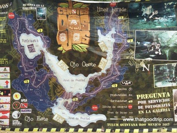 Mapa do Cenote Dos Ojos