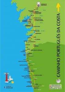 Mapa do Caminho Português da Costa