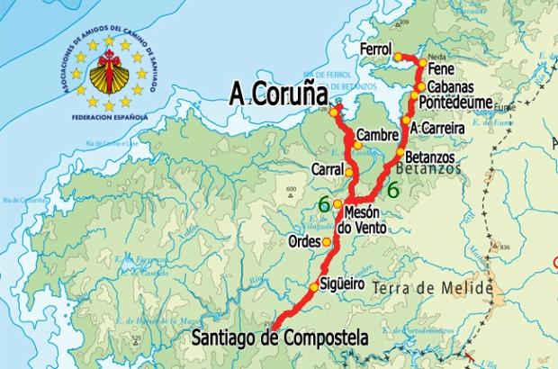 Etapas do Caminho Ingles: mapa do Caminho Inglês