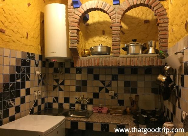 Chefchaouen: a cozinha do quarto do hotel Chez Aziz